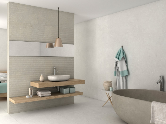 Store fliser til badeværelse, væg, spisebord eller gulv. Der findes mange flotte storformatsfliser